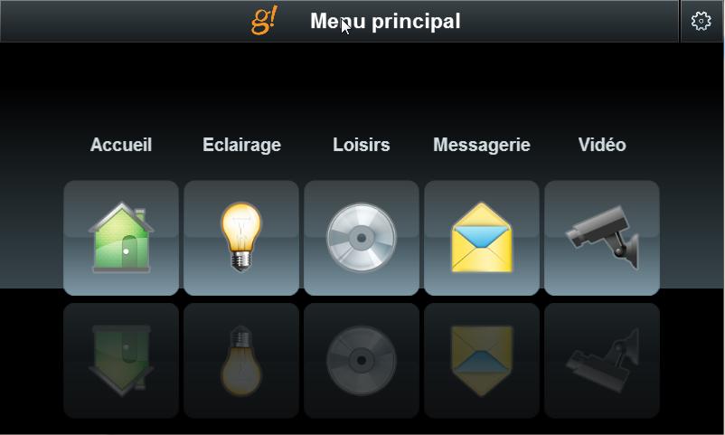 la Home Page del touch screen del cliente