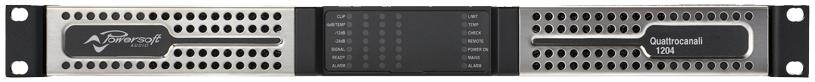 Particolare degli amplificatori a 4 canali dedicati ai diffusori a colonna
