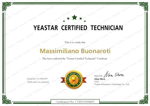 Massimiliano Buonaroti è tecnico certificato Yeastar